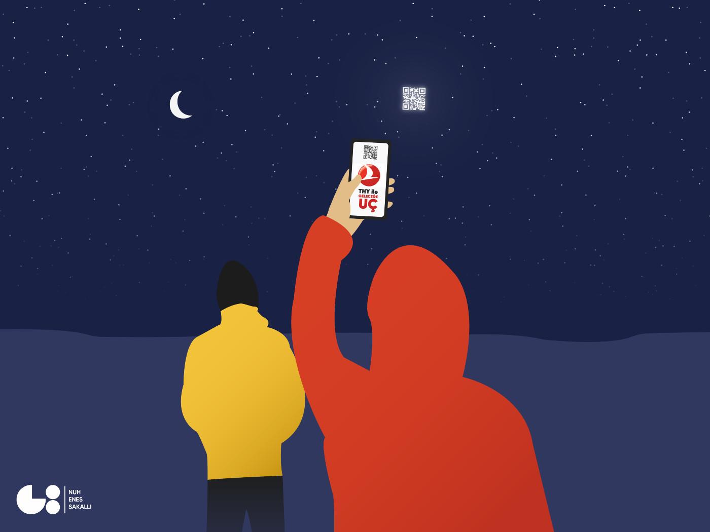 Telefonu ile uzaydaki QR kodu okutan bir genç telefonunda Türk Hava Yolları reklamı görüyor uzay reklamcılığı örneği